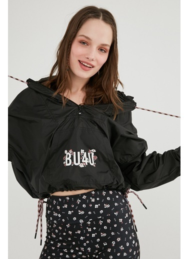 Penti Siyah Bu4U Oversize Crop Raincoat Siyah